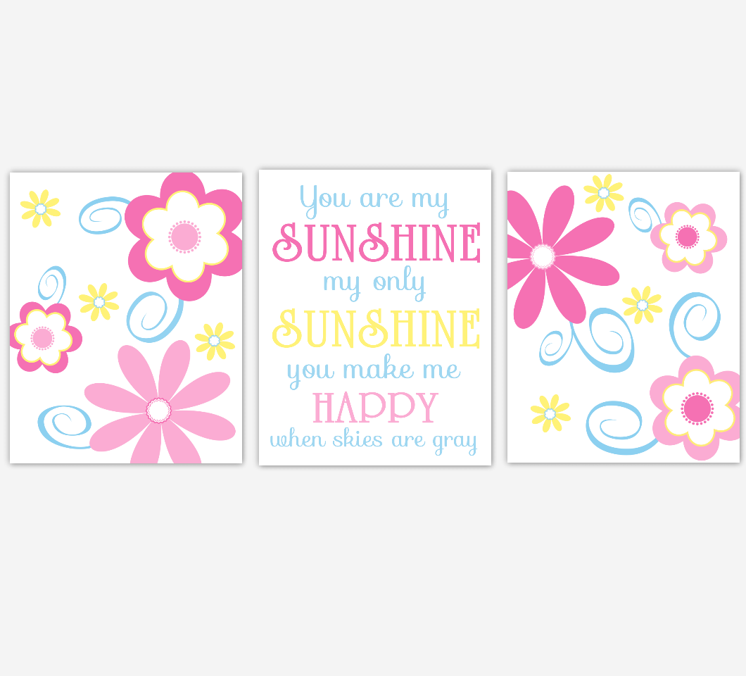 Flower Baby Girl Nursery Wall Art Pink Blue Yellow Prints Floral Girl Bedroom Baby Nursery Decor You Are My Sunshine