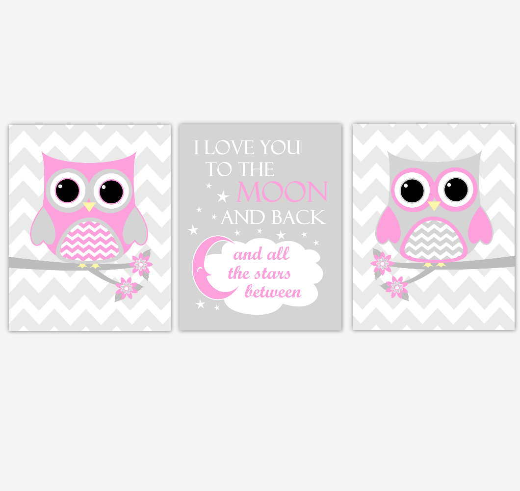 Owl Baby Girl Nursery Wall Art Pink Gray Birds Nursery Rhyme Baby Nursery Decor I Love You To The Moon And Back