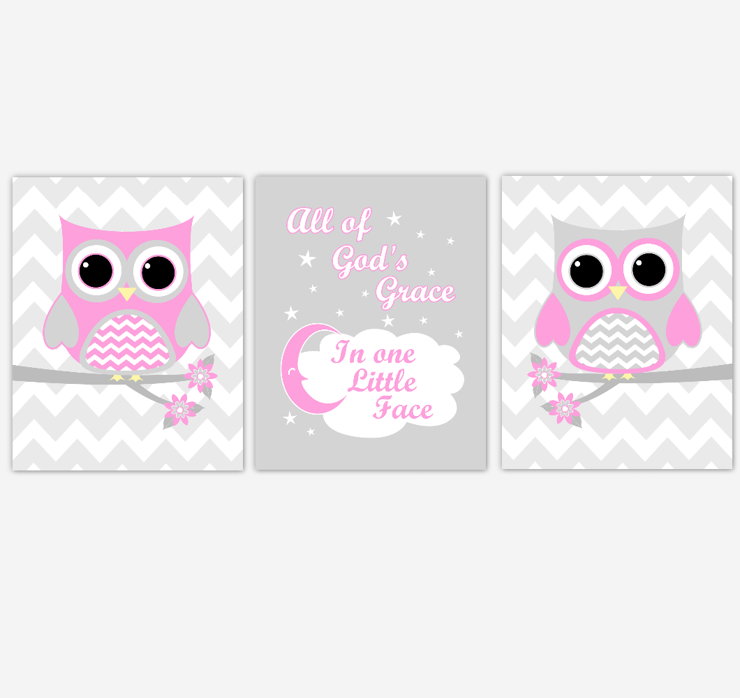Owl Baby Girl Nursery Wall Art Pink Gray Birds Nursery Rhyme Baby Nursery Decor All Of God Grace