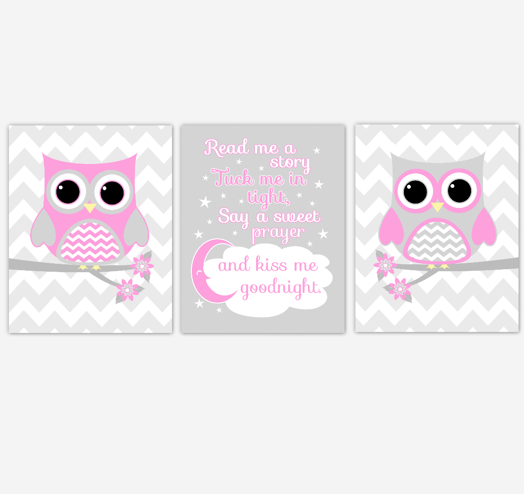 Owl Baby Girl Nursery Wall Art Pink Gray Birds Nursery Rhyme Baby Nursery Decor Read Me A Story