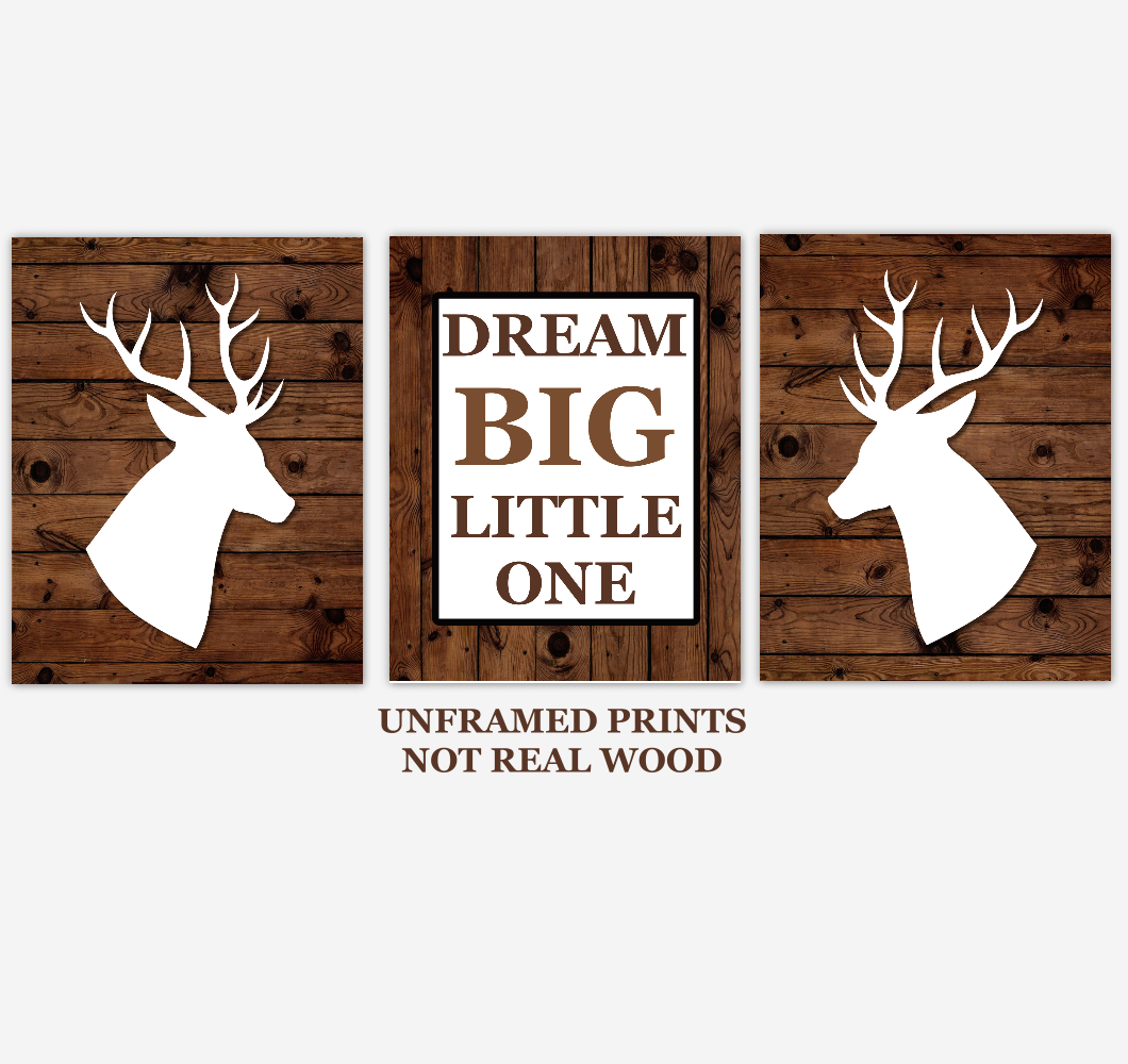 Deer Baby Boy Nursery Wall Art Woodland Animals Dream Big Little One Farmhouse Baby Nursery Decor