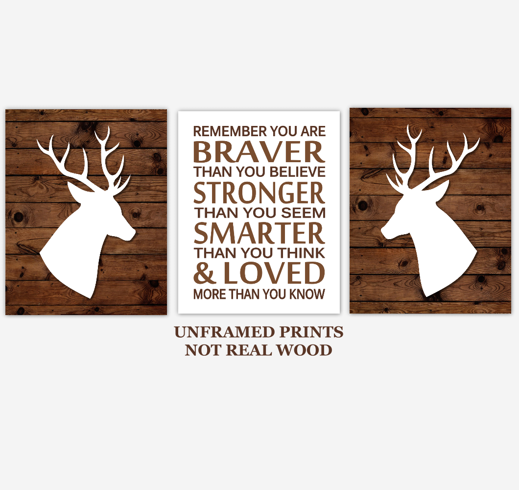 Deer Baby Boy Nursery Wall Art Woodland Animals Farmhouse Baby Nursery Decor Always Remember You Are Braver
