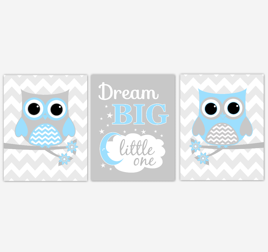 Owl Baby Boy Nursery Wall Art Blue Gray Birds Dream Big Little One Baby Nursery Decor Prints