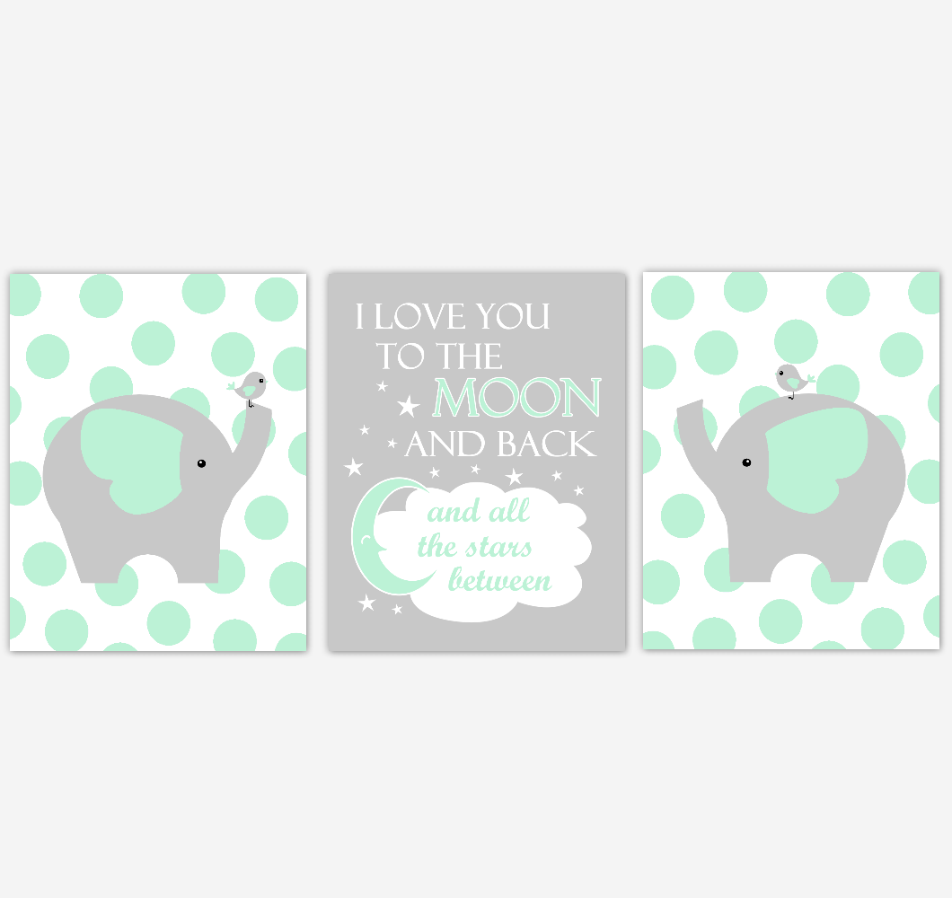 Elephant Baby Nursery Wall Art Mint Green Gray Birds Gender Neutral Safari Animals Boy Girl Baby Nursery Decor Prints
