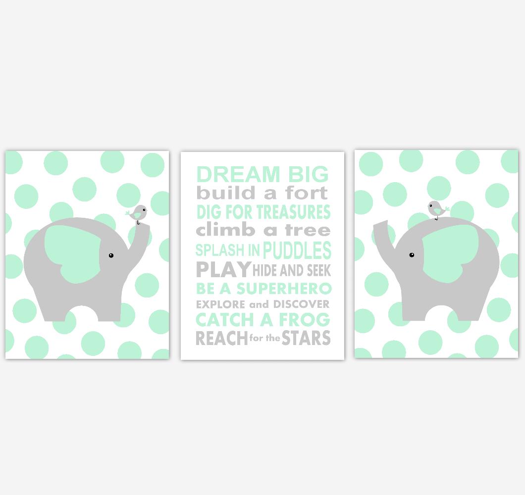 Elephant Baby Boy Nursery Wall Art Mint Green Gray Safari Animals Baby Nursery Decor Prints Dream Big