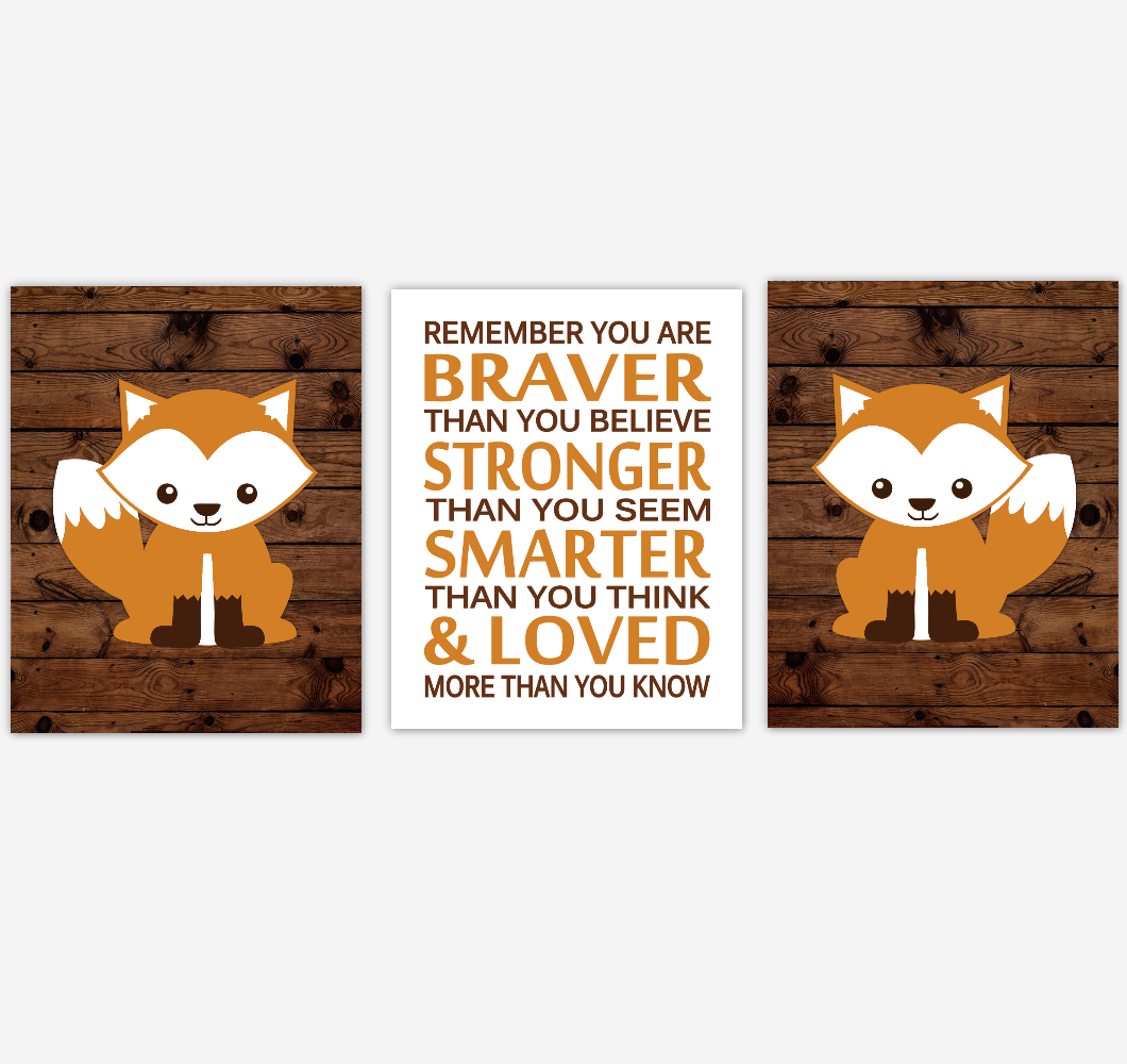 Fox Baby Boy Nursery Wall Art Orange Brown Woodland Animals Boy Bedroom Home Decor Rustic Farmhouse Baby Nursery Decor Prints