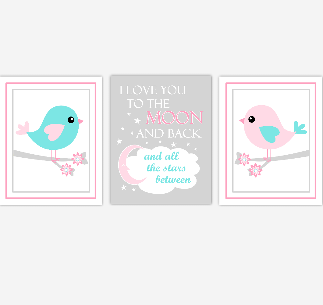 Birds Baby Girl Nursery Wall Art Pink Teal Aqua Baby Nursery Decor Prints Home Decor