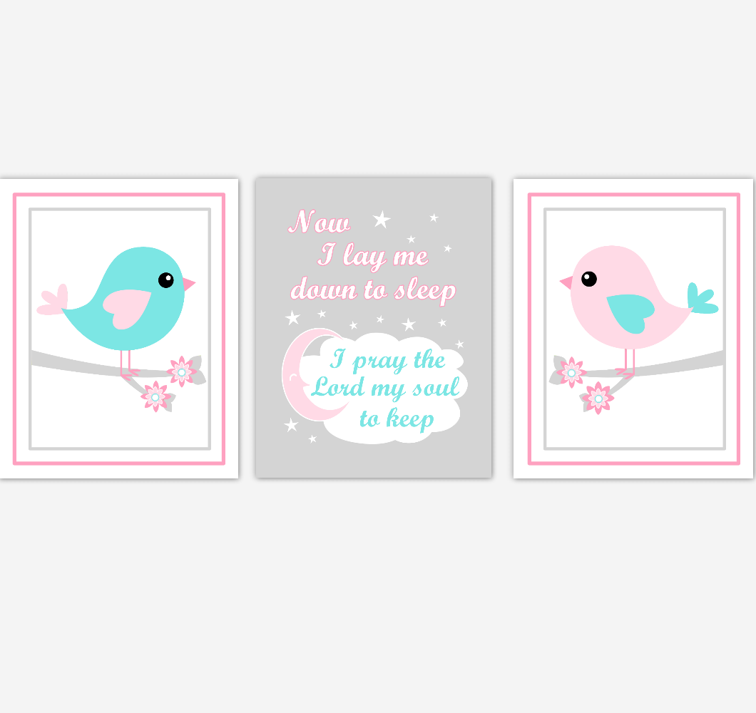 Birds Baby Girl Nursery Wall Art Pink Teal Aqua Baby Nursery Decor Prints Home Decor Now I Lay Me Down To Sleep