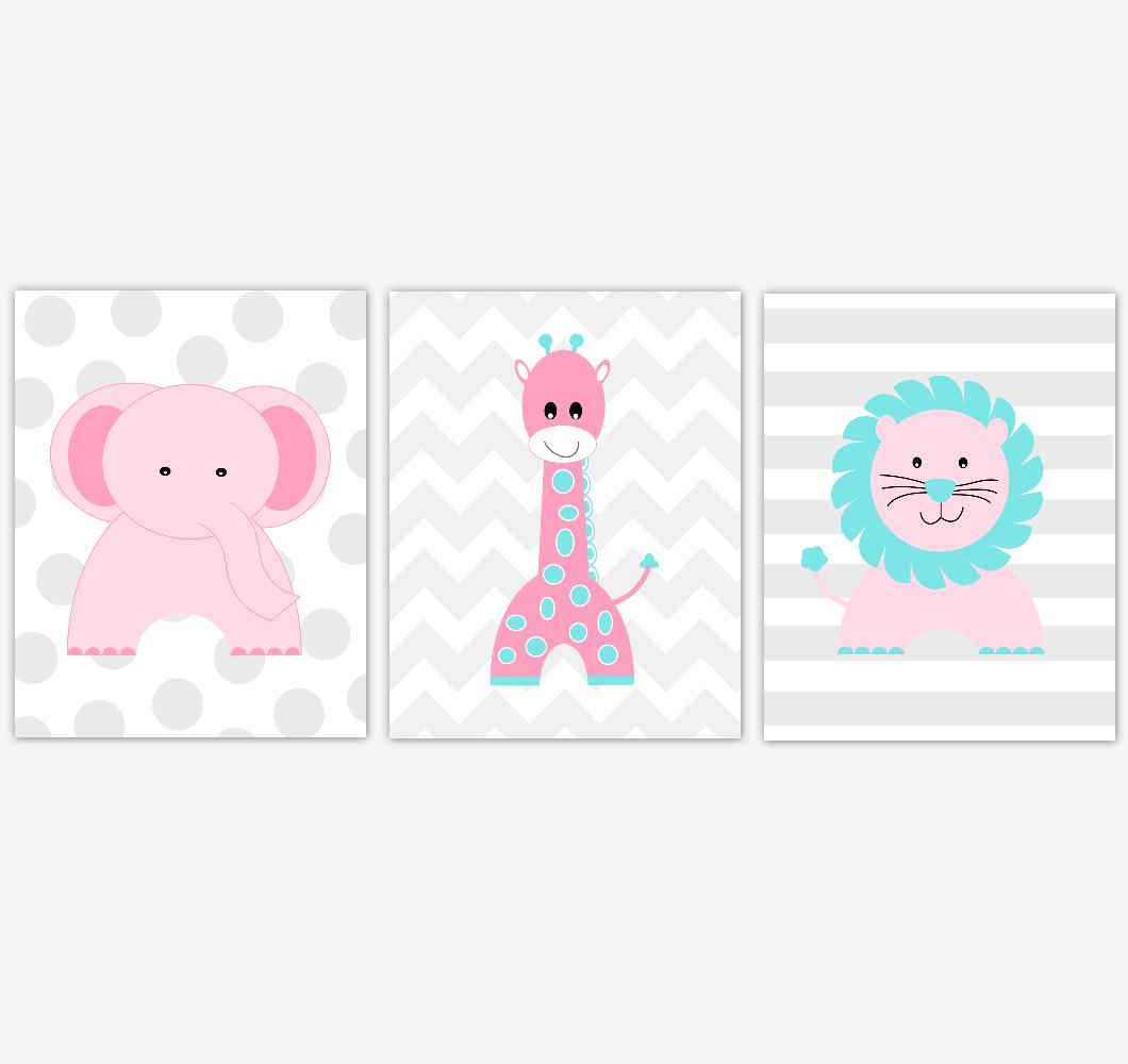 Elephant Baby Girl Nursery Wall Art Pink Teal Aqua Giraffe Lion Safari Animals Baby Nursery Decor Prints Home Decor