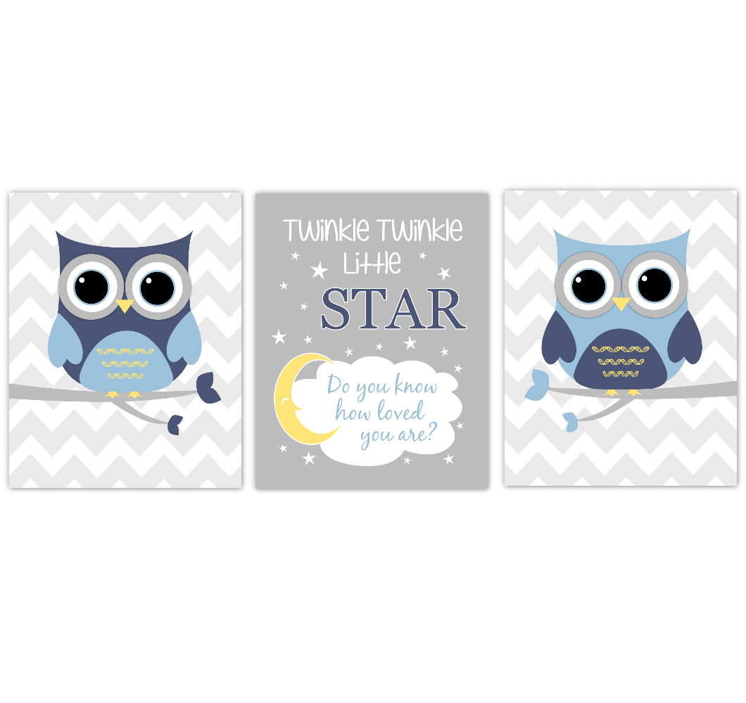 Owls Baby Boy Nursery Wall Art Navy Blue Yellow Gray Birds Baby Nursery Decor Prints Twinkle Twinkle Little Star