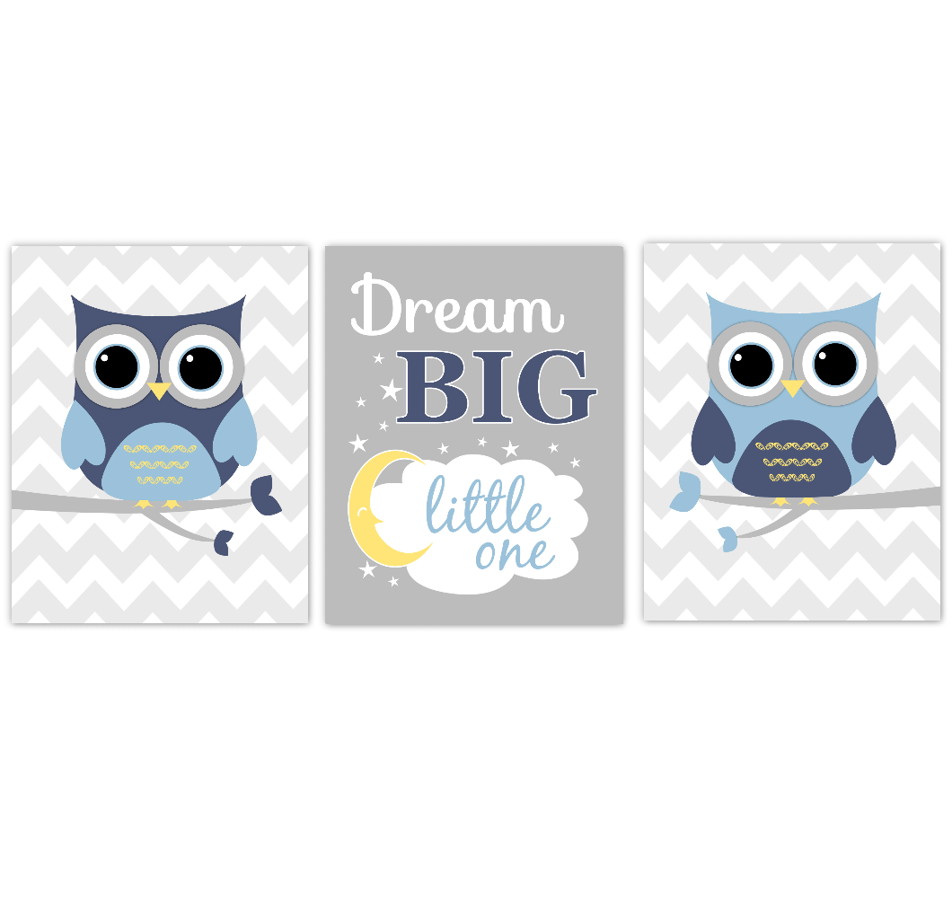 Owls Baby Boy Nursery Wall Art Navy Blue Yellow Gray Birds Baby Nursery Decor Prints Dream Big Little One