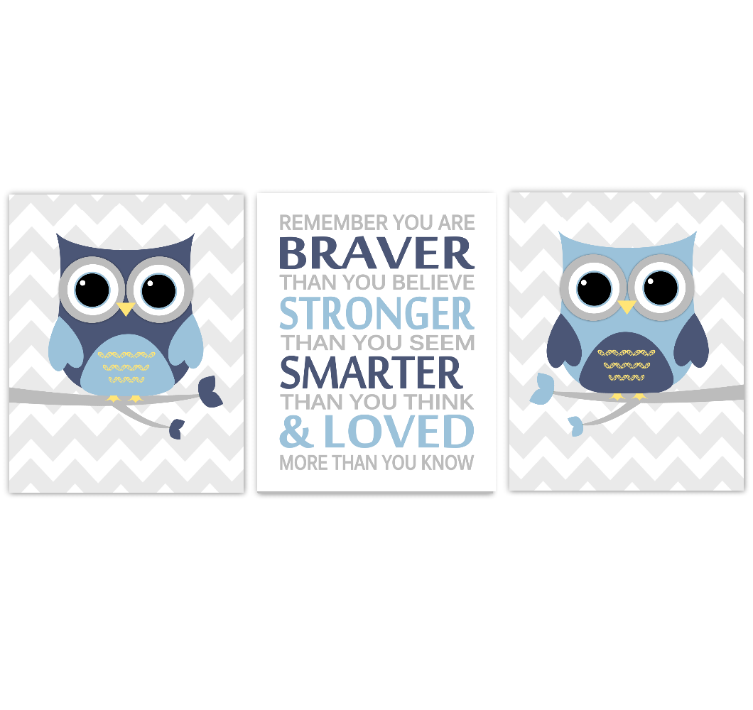 Owls Baby Boy Nursery Wall Art Navy Blue Yellow Gray Birds Baby Nursery Decor Prints Always Remember You Are Braver