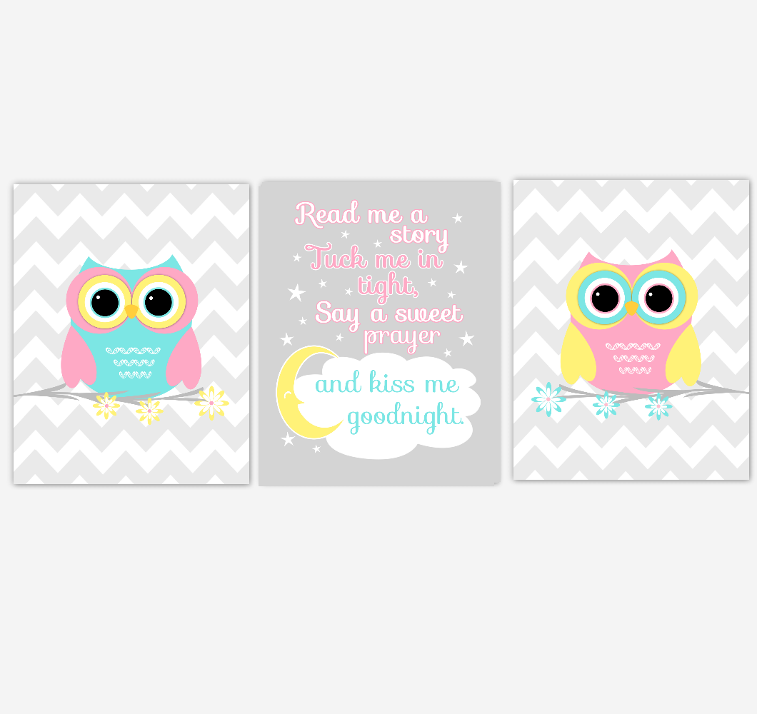 Owls Baby Girl Nursery Wall Art Pink Yellow Teal Aqua Gray Birds Baby Nursery Decor Prints Read Me A Story