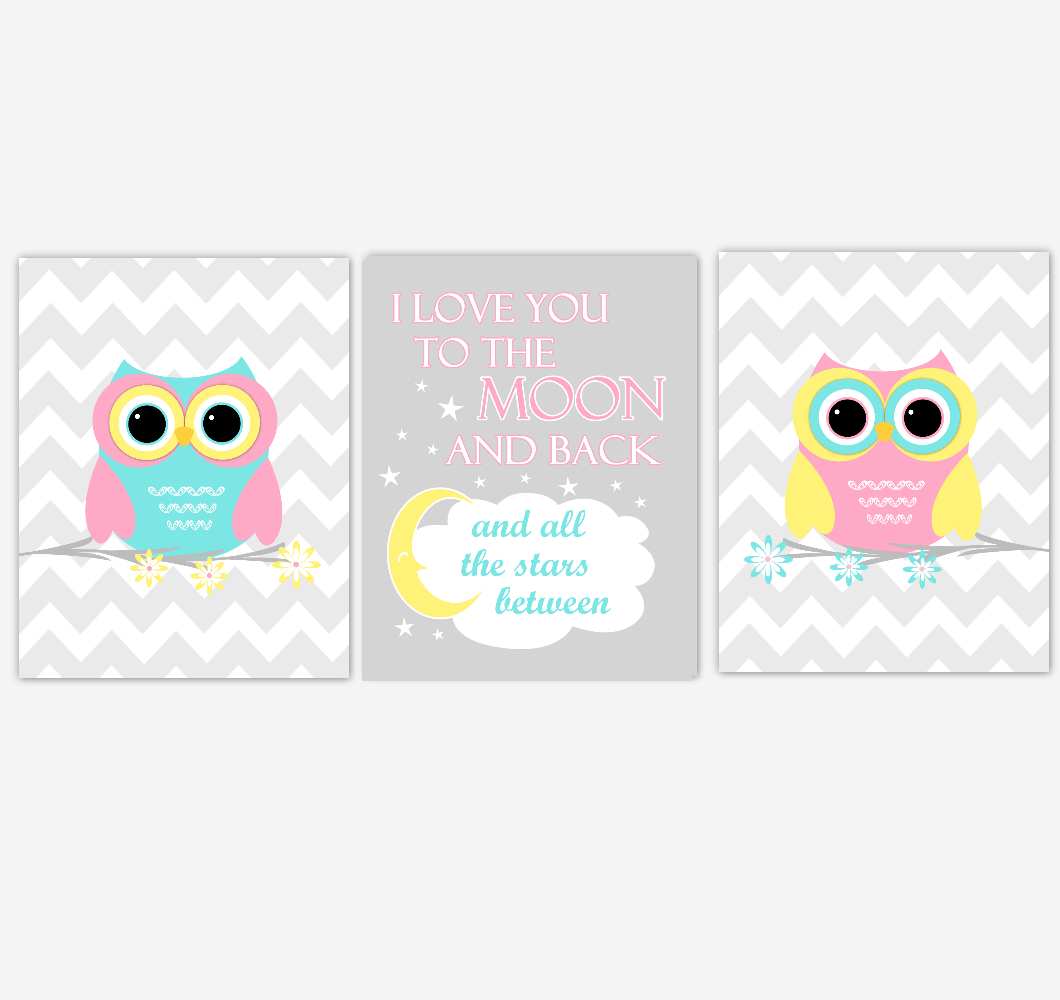 Owls Baby Girl Nursery Wall Art Pink Yellow Teal Aqua Gray Birds Baby Nursery Decor Prints I Love You To The Moon And Back