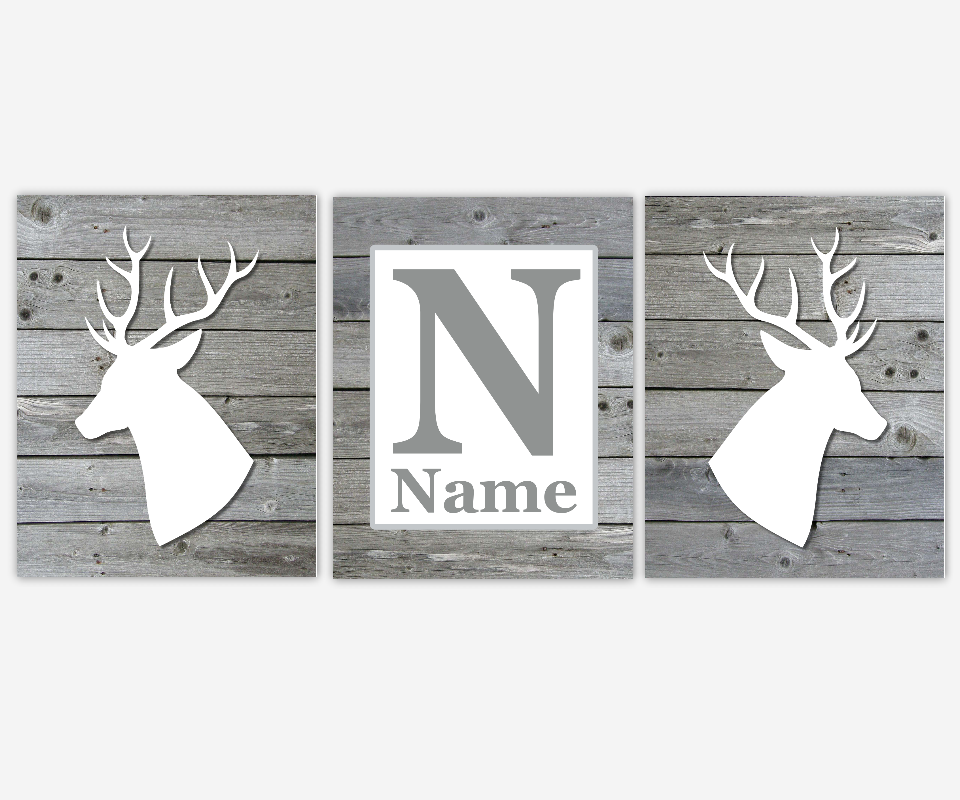 Deer Head Antlers Gray Grey White Personalized Name Monogram Art Baby Boy Nursery Decor Toddler Young Hunting Prints SET OF UNFRAMED PRINTS