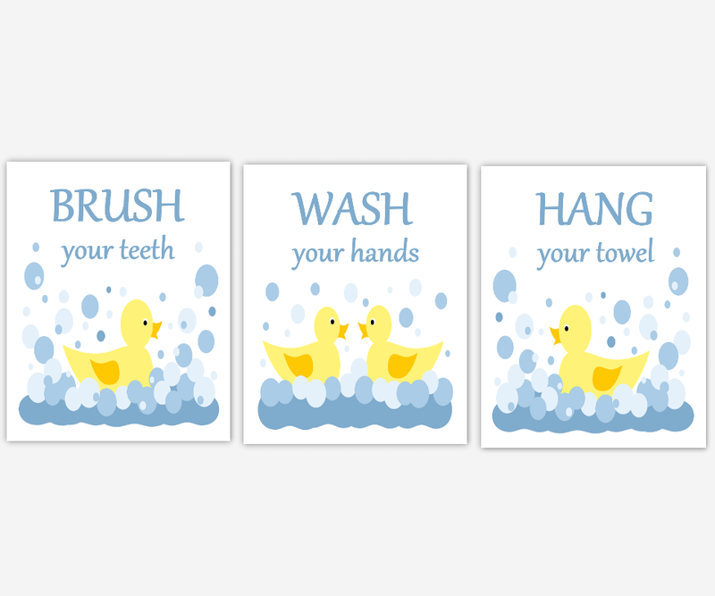 RUBBER DUCK Kids Bathroom Wall Art Rubber Ducky Yellow Blue Brush Your Teeth Hang Your Towel Wash Your Hands Bath Rules Childrens Bath Prints Bath Home Decor SET OF 3 UNFRAMED PRINTS