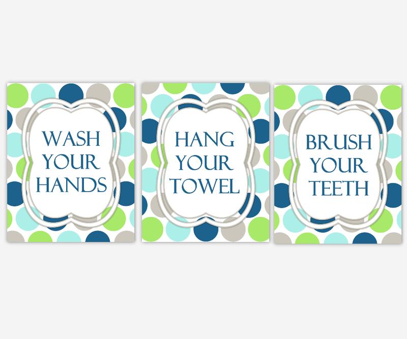 Kids Bath Wall Art Aqua Navy Blue Green Gray Wash Your Hands Brush Your Teeth Hang Your Towel Bathroom Rules Prints Bath Wall Prints Children's Bath Home Decor Bath Art SET OF 3 UNFRAMED PRINTS