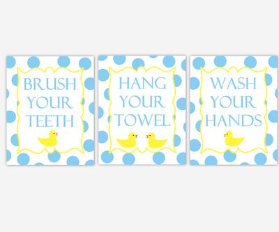 Kids Bath Wall Art Rubber Ducky Duck Yellow Blue Bubbles Brush Your Teeth Wash Your Hands Hang Your Towel Bathroom Rules Prints Children's Bathroom Prints Home Decor Bath SET OF 3 UNFRAMED PRINTS