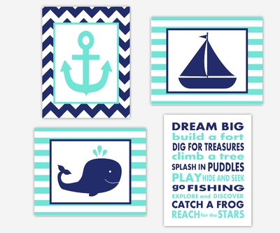 Nautical Boy Nursery Wall Art Navy Blue Aqua Dream Big Whale Boat Anchor Boy Room Wall Decor Nautical Decor Baby Nursery Decor SET OF 4 UNFRAMED PRINTS
