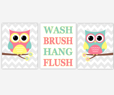 Owl Bath Wall Art Kids Bathroom Prints Pink Yellow Teal Bath Rules Wall Decor Owl Bath Decor Wash Brush Hang Flush Children Bathroom Prints