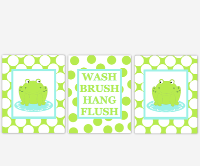 Frog Bath Wall Decor Lime Green Aqua Kids Bath Decor Bathroom Rules Wash Brush Hang Flush Frog Bath Decor Polka Dot Bath Prints