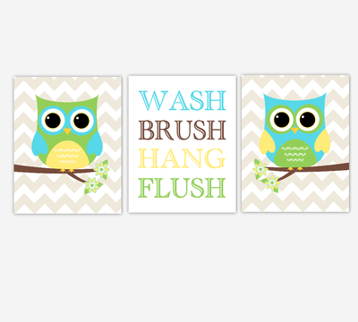 Owl Bath Wall Art Yellow Green Turquoise Teal Blue Kids Bathroom Prints Wash Brush Hang Flush Children Bathroom Rules SET OF 3 UNFRAMED PRINTS
