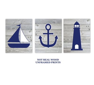 Nautical Wall Art Navy Blue Gray Sailboat LIghthouse Anchor Baby Boy Nursery Bath Prints Rustic Wood SET OF 3 UNFRAMED PRINTS