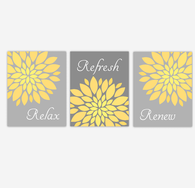 Bathroom Wall Art Yellow Gray Flower Burst Dahlia Mums Spa Bath Rules Home Decor SET OF 3 UNFRAMED PRINTS
