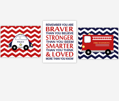 Baby Boy Nursery Wall Art Fire Truck Police Car Remember You Are Braver Navy Blue Red Toddler Boy Bedroom Art Baby Nursery Decor SET OF 3 UNFRAMED PRINTS