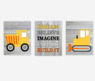 Construction Truck Baby Boy Nursery Wall Art Toddler Drema Believe Imagine Build It Baby Nursery Decor Playroom SET OF 3 UNFRAMED PRINTS