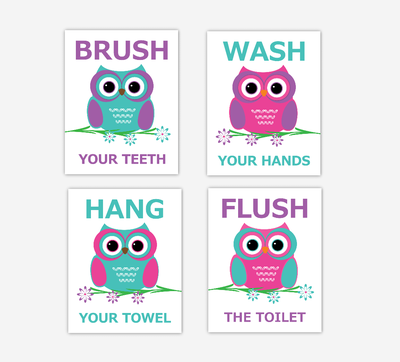 Owls Kids Bath Art Purple Teal Pink Brush Wash Hang Flush Bath Rules Decor SET OF 4 UNFRAMED PRINTS