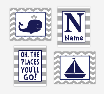 Nautical Baby Boy Nursery Art Navy Blue Gray Whale Sailboat Oh The Places You'll Go Baby Nursery Decor SET OF 4 UNFRAMED PRINTS