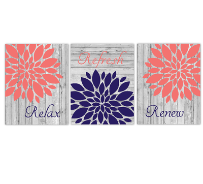 Coral Navy Blue Bathroom Wall Art Mum Dahlia Flower Floral Relax Refresh Renew Rustic Farmhouse Style Theme Prints Spa Bath