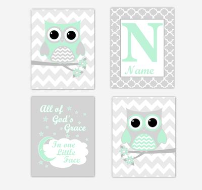 Mint Green Owls Baby Girl Nursery Wall Art Prints Personalized Baby Nursery Decor Dream All Of Gods Grace
