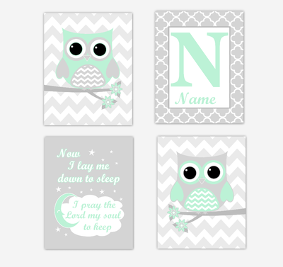 Mint Green Owls Baby Girl Nursery Wall Art Prints Personalized Baby Nursery Decor Now I Lay Me Down To Sleep