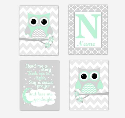 Mint Green Owls Baby Girl Nursery Wall Art Prints Personalized Baby Nursery Decor Read Me A Story