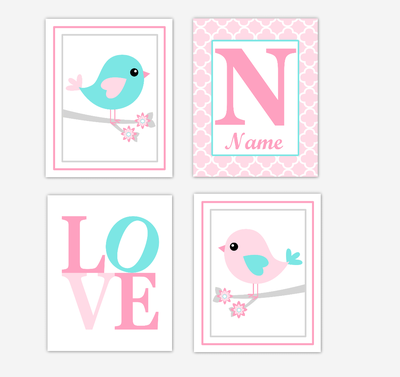 Pink Teal Aqua Birds Baby Girl Nursery Wall Art Prints Personalized Baby Nursery Decor LOVE