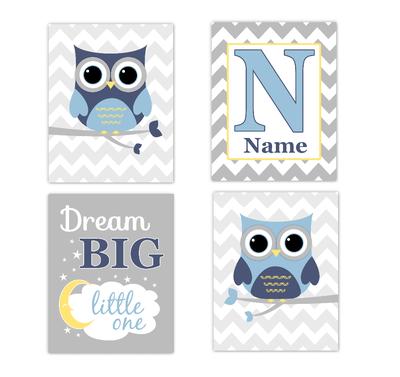 Blue Yellow Owls Baby Boy Nursery Wall Art Prints Personalized Baby Nursery Decor Dream Big Little One