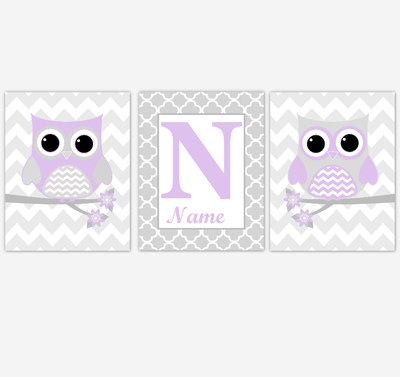 Purple Owl Baby Girl Nursery Wall Art Prints Personalized Baby Nursery Decor Birds Lavender Gray