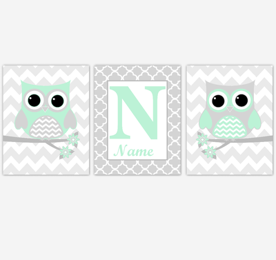 Mint Owls Baby Nursery Wall Art Prints Personalized Baby Nursery Decor Birds Gender Neutral Green Gray