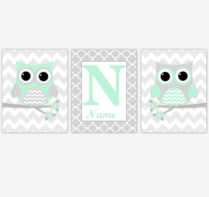 Mint Owls Baby Nursery Wall Art Prints Personalized Baby Nursery Decor Birds Gender Neutral Green Gray