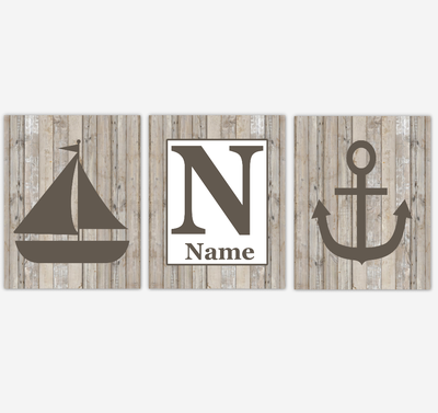Nautical Wall Art Prints Farmhouse Style Rustic Baby Boy Nursery Art Bedroom Bathroom Personalized Decor