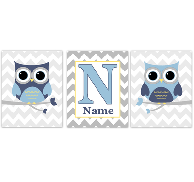 Owl Baby Boy Nursery Wall Art Navy Blue Yellow Gray Personalized Baby Nursery Decor