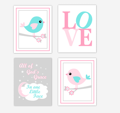 Birds Baby Girl Nursery Wall Art Prints Pink Aqua Teal LOVE Baby Nursery Decor All Of Gods Grace