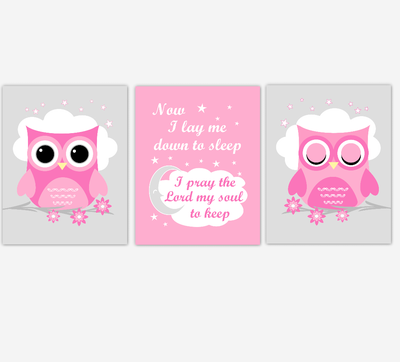 Owl Baby Girl Nursery Wall Art Prints Pink Gray Birds Baby Nursery Decor Now I Lay Me Down To Sleep