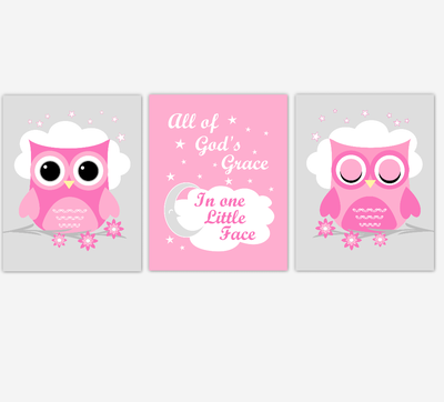 Owl Baby Girl Nursery Wall Art Prints Pink Gray Birds Baby Nursery Decor All Of Gods Grace