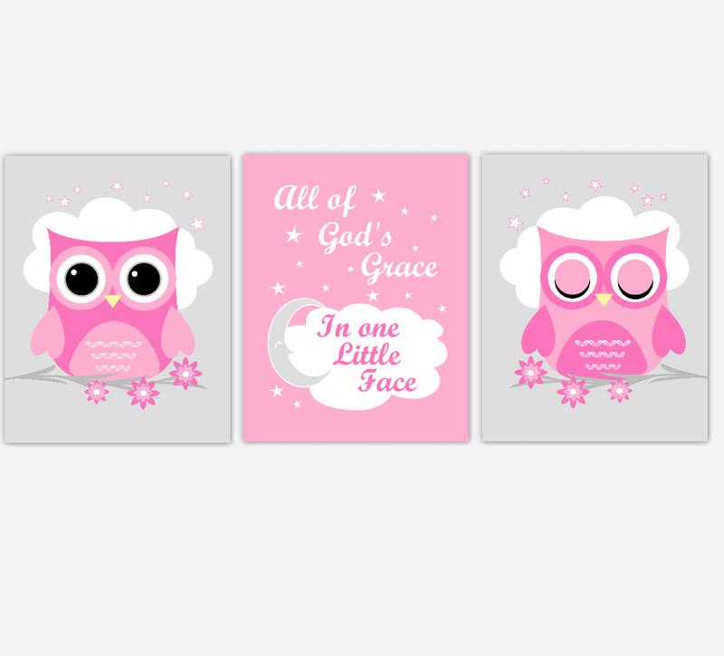 Owl Baby Girl Nursery Wall Art Prints Pink Gray Birds Baby Nursery Decor All Of Gods Grace