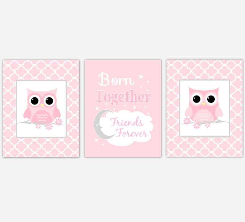 Twins Baby Girl Nursery Wall Art Pink Gray Owls Prints Baby Nursery Decor Born Together Friends Forever