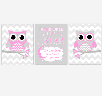 Owl Baby Girl Nursery Wall Art Pink Gray Birds Nursery Rhyme Baby Nursery Decor Twinkle Twinkle Little Star