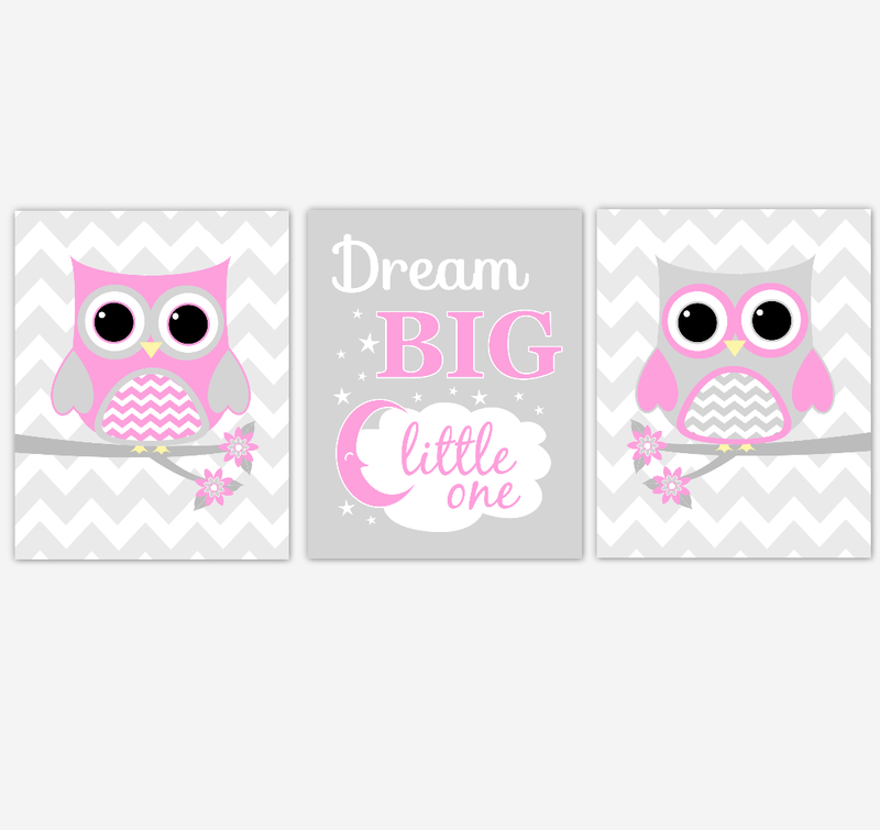 Owl Baby Girl Nursery Wall Art Pink Gray Birds Nursery Rhyme Baby Nursery Decor Dream Big Little One